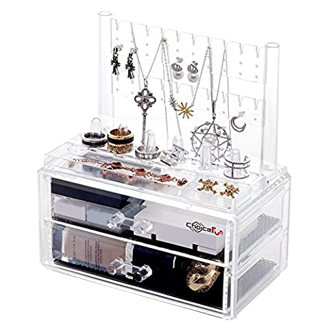 Choice Fun Clear Acrylic Jewelry Organiser Dressing Case with 2 Drawers 3 Piece Set