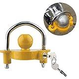 CIMIVA Anhängerschloss Bügel Schloß 50mm gelb inkl. 2 Schlüssel für Wohnwagen