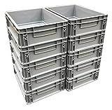 10 x 10 litros de plástico de alta resistencia de almacenamiento unidades cajas gris (10 unidades)