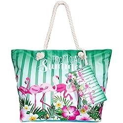 Comius Bolsa de Playa, Bolsa de Playa de Lona Mujer Grande Bolso de Mano Shopper Bolsa Bolsa De Verano (D)