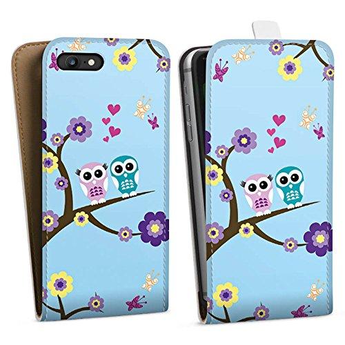 Apple iPhone X Silikon Hülle Case Schutzhülle Eule Blumen Liebe Downflip Tasche weiß