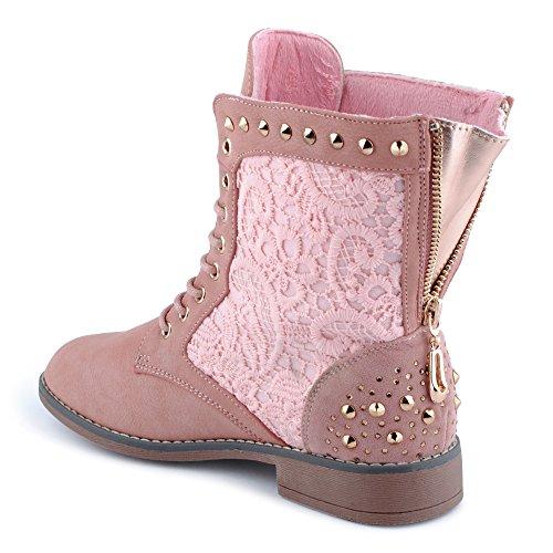 Damen Stiefeletten Stiefel Muster Spitze Strass Nieten Blockabsatz Schnürstiefel Leicht Gefüttert Bikerboots Boots Freizeit Schuhe Pink EU 39