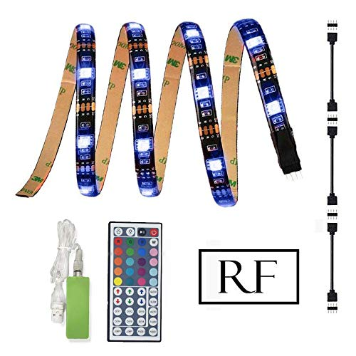 Preisvergleich Produktbild Simfonio LED Strip 2m - LED Streifen mit RF Mini Controller - USB LED Stripes 5050 SMD RGB für 40-60 Zoll LED TV Hintergrundbeleuchtung - LED Band mit Fernbedienung (4 * 0.5m)