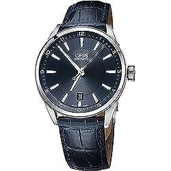 Oris Artix Fecha Acero inoxidable de hombre de piel azul reloj 73377134035ls