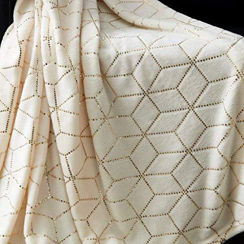mehvi1 Fleece Überwurfdecke Metallic 3D Cube Modern Geometric Grau Schwarz Silber Pink Natural / /Gold -