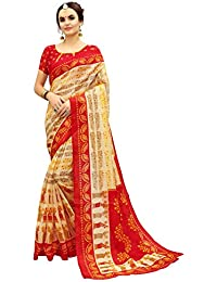 Glory Sarees Women's Bhagalpuri Art Silk Saree(gloryart9_red_beige)