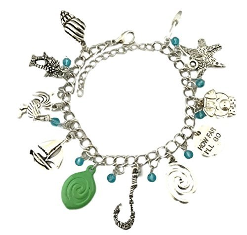 Disney's Moana Princess ( 11 Themed Charms) Assorted Metal Charm BRACELET
