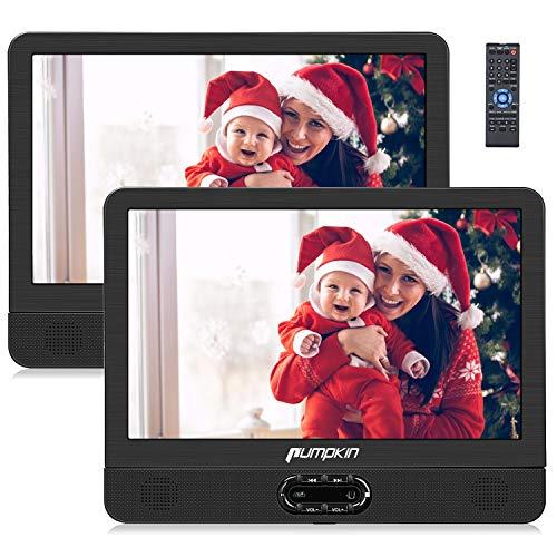 PUMPKIN Lettore dvd portatile auto poggiatesta per bambini, due schermi da 12 pollici, supporta usb/sd/mmc, region f