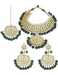 Karatcart 22K GoldPlated Traditional Kundan Pearl Green Choker Jewellery Set for Women