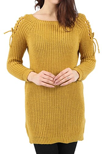 Ladies Lace Up Cold Shoulder Knitted Jumper EUR Size 36-42 Moutarde