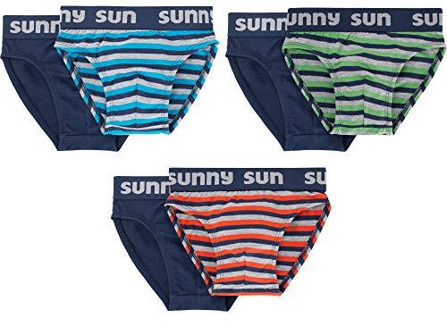 Sammy Sun Jungen Slips,6 Pack,116,Marine/türkis/orange/grün/grau