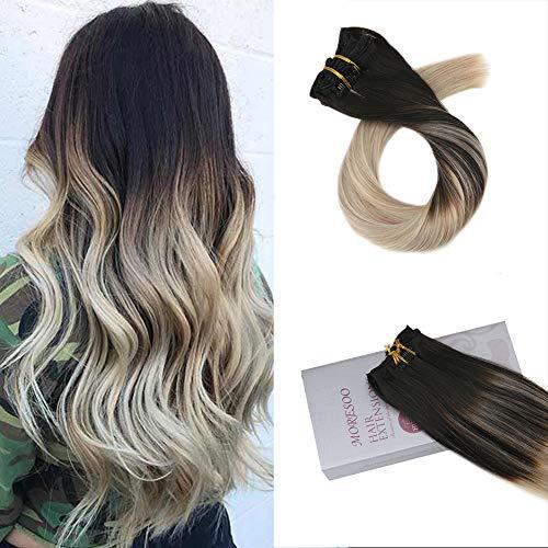Moresoo 16 Zoll/40cm 100% Remy Clip In Extensions Set 7 Haarteile Vollkopf Haarverdichtung Haarfarbe Schwarz #1B bis Aschblond #18 bis Blond #60 Balayage Glatt Echthaar Extensions Clip In 120g