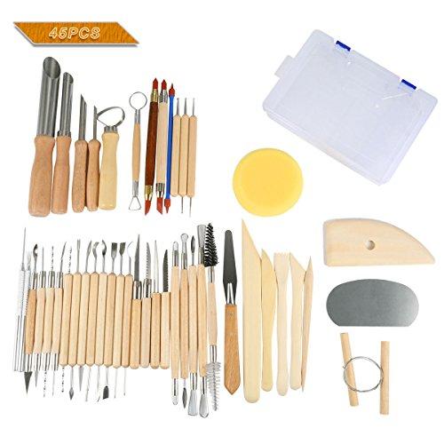 Scheda dettagliata Lzndeal 45pcs Set di strumenti per scolpire ceramica e argilla in legno con custodia in plastica