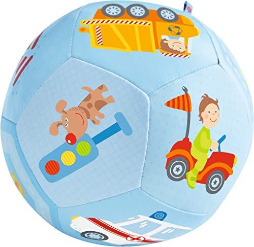 HABA 302482 - Babyball Fahrzeug-Welt, weicher Spielball mit Fahrzeugmotiven, Babyspielzeug ab 6 Monaten
