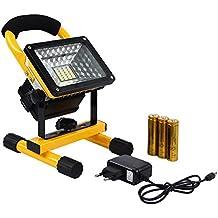 Latinaric 30W LED Focos portatiles lámpara Camping proyector de reflector de batería recargable para trabajo de noche