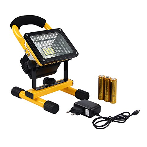 Preisvergleich Produktbild Latinaric 30W LED Akku Flutlicht Scheinwerfer 360°Drehbar Sicherheit Baustrahler Strahler IP65 für Camping Outdoor mit 3 Leucht Mode