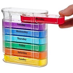 MEDca Wöchentliche Pillendose, Vier Mal pro Tag, 1 Medikamentendispenser mit stapelbaren Morgens/Abends Fächern