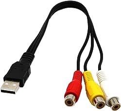 Phenovo USB to Triple RCA Audio/Video AV Female Composite Stereo Splitter Cable Adapter