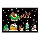 Drawihi Natale Vetrofanie Rimovibile Adesivi Murali Fai da te Finestra Decorazione Vetrina Fiocco di neve, albero di natale, alci, santa 50cm*70cm-020