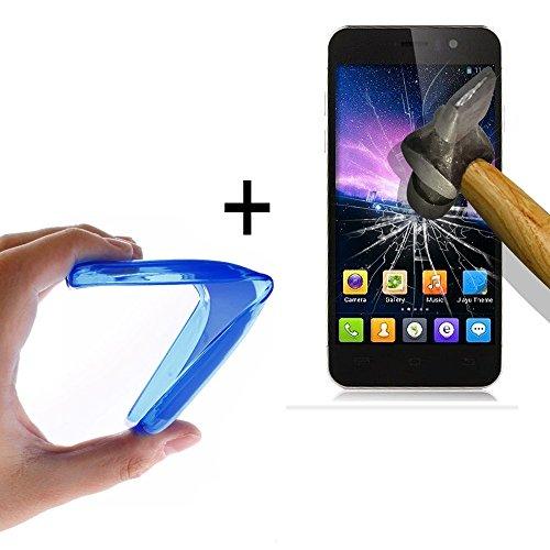 WoowCase - Flexible Gel Schutzhülle für [ Jiayu G5 - G5S] [ +1 Schutzglas ] Hartglas, Hülle Case TPU Silikon in Blau