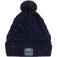 August EPA30 – Bluetooth Mütze – Winter Beanie mit Bluetooth Stereo Kopfhörer, Mikrofon, Freisprechen und integriertem Akku (Blau)