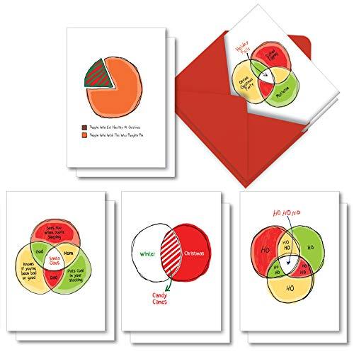 Off The Charts': sortierte Box mit 10 lustigen Weihnachtskarten mit verschiedenen Saisonkarten mit Umschlägen, 5 Designs, 2 Karten pro Design) AC7130XSG-B2x5
