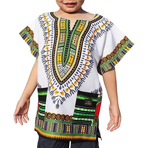 Vamoro Jungen Mädchen Kinder Unisex Helle Afrikanische Farbe Kindertasche T Shirt Tops Lässige Kinderkleidung(Weiß,4-6 Jahre) (Afrikanische Kleidung Für Mädchen)