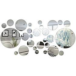 32 Pieces Round Circle Mirror Setting Wall Sticker Decal Home Decoration
