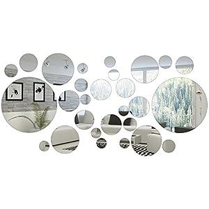 32 Stück Runde Kreis Spiegel Einstellung Wand Aufkleber Aufkleber Dekoration (Stil 1)