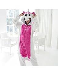 Unisex Pijamas para Adultos - Peluche de una Pieza Cosplay Animal Traje Invierno Espesamiento Ocio,Rosado,S