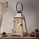 Lights4fun Holz Laterne Trapez 36cm inkl. 12,5cm TruGlowTM LED Echtwachskerze