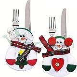 Set 4 pz segnaposto portaposate Pupazzo Neve posate decorazione tavola natale