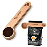 Wooden Coffee Scoop and Bag Clip - 1 Tablespoon Solid Beech Wood Measuring Scoop - Espresso Coffee Bags Sealer - Suitable for Ground Beans, Coffee Beans and Loose Tea - By The Urban Element