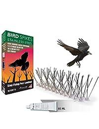 Aspectek Sistema Anti pájaros de Acero Inoxidable - 10 hileras de Púas antipalomas con base de