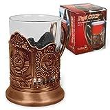 OLYMP - Supporto per bicchiere da tè UDSSR con stemma CCCP, bronzo (con vetro da 200 ml)