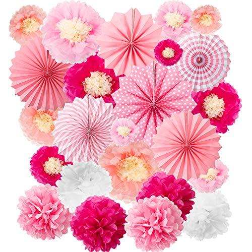 WILLBOND 24 Stücke Party Hängend Set, Einschließlich 12 Seiden Papier Blumen Dekorationen, 6 Rosa Papierfächer Girlanden Dekor, 6 Papier Ball Dekor Blumen Kunst Kit für Geburtstag Baby Dusche Fest