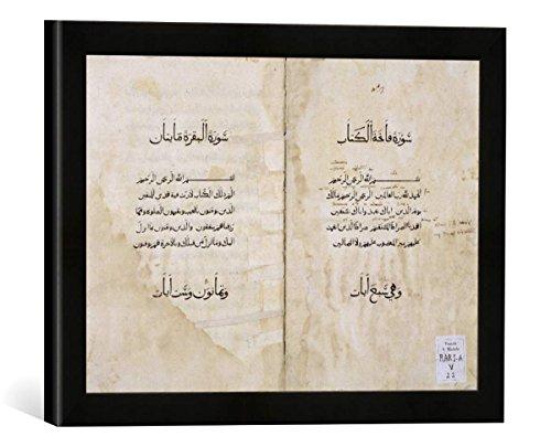 """Gerahmtes Bild von P. & Baganini & A.Koran printed in Arabic, 1537"""", Kunstdruck im hochwertigen handgefertigten Bilder-Rahmen, 40x30 cm, Schwarz matt"""
