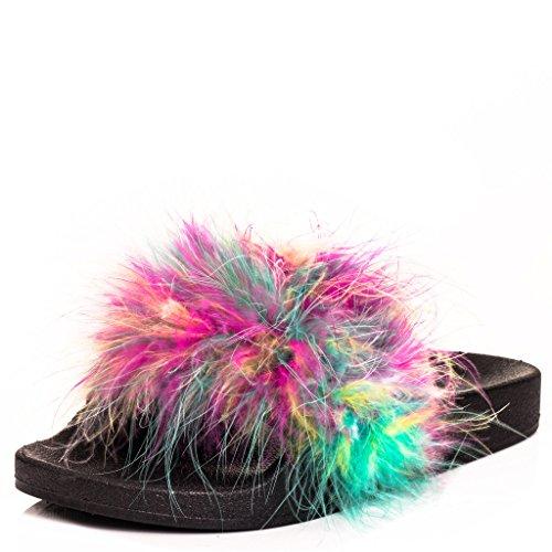 SPYLOVEBUY ELESIA Damen Pantoletten Flache Sandalen Schuhe Pumps Multi - Gummi