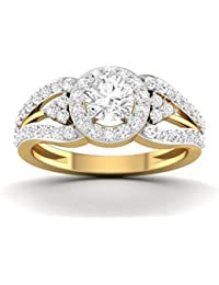 Vijisan 2.42 Ct. Gold Rhodium Plated 925 Sterling Silver Solitaire With Accents Ring For Women