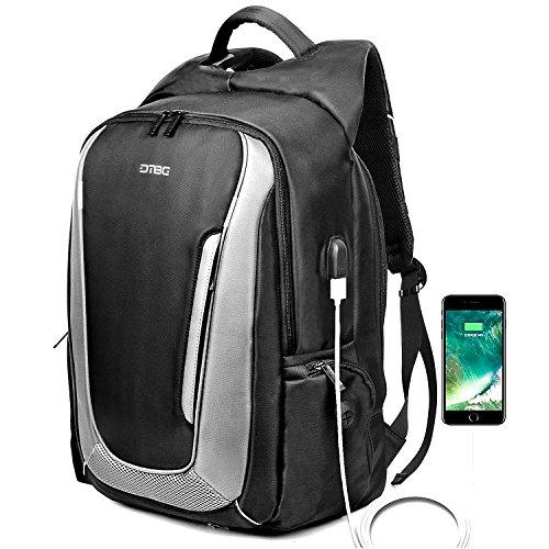 DTBG Rucksack für 17 - 17,3-Zoll-Laptop mit USB-Anschluss, aus Nylon, für unterwegs, wasserfester Rucksack für HP/Dell/Asus/Lenovo, für Herren und Damen (schwarz) schwarz Schwarz  17.3 Inches