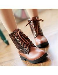 &ZHOU Botas otoño y del invierno botas cortas mujeres adultas 'cargadores de Martin Knight botas a15 , brown , 39