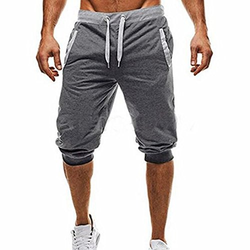 Price comparison product image Halijack Men Shorts,  Summer Handsome Boy England Style Cotton Elastic Waist 3 / 4 Length Short Pants Pencil Pants Casual Gym Sport Fitness Jogging Stretchy Lightweight Loungewear (L,  Deep Gray)