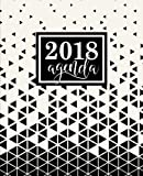 Agenda: 2018 Agenda semainier : 19x23cm : Triangles abstraits noirs et blancs