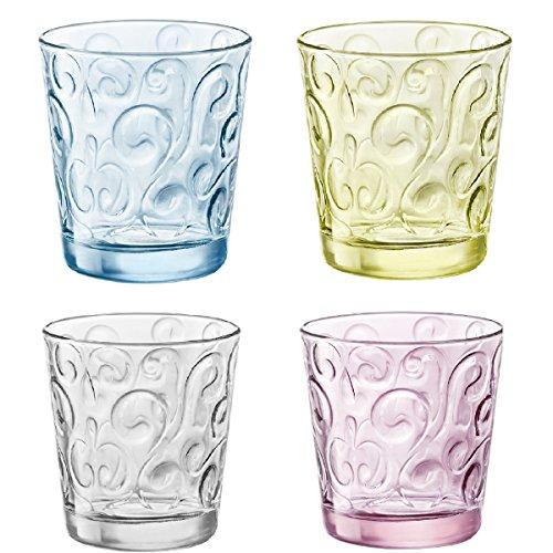 Set 12 bicchieri bicchiere trasparenti rosa azzurro giallo acqua bibita cocktail 30cl linea bormioli naos candy