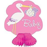 Honeycomb Mini Partito enico Cicogna decorazioni baby shower ragazza di partito (pacchetto di 4)