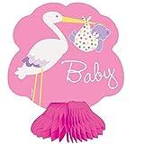 Unique Party Supplies Mini-Dekorationen für Babyparty mit Ständer im Wabenmuster, Motiv: Storch, 4Stück