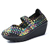 HKR HKR-SDF889caise36 Women Platform Weave Wedges Summer Memory Foam Mary Jane Sandals Closed Toe Woven Shoes Multicolor UK 3