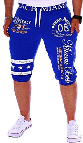 Men's Digital Printed Cotton Casual Shorts blue