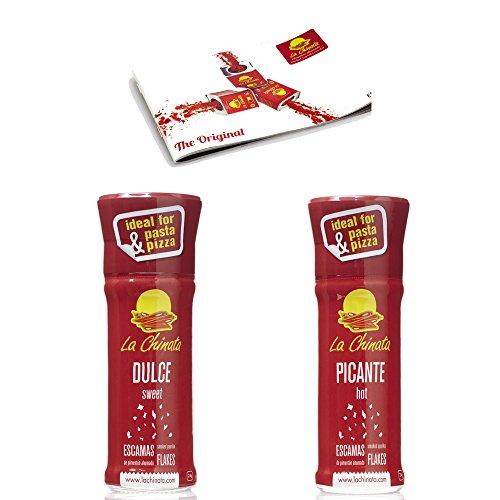 Pimentón en Escamas Ahumado Dulce y Picante pack La Chinata molinillo 24g