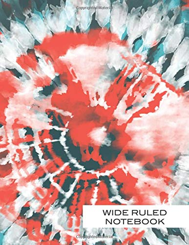 Wide Ruled Notebook: Turqoise Blue and Orange Tie Dyed Letter Lined Paper Journal Shibori Designs